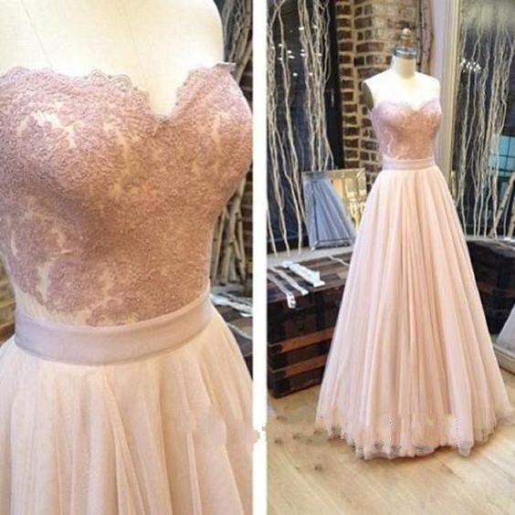 Prom dress 2016, Pretty Long Prom Dress for Teens, Pink Lace Tulle Strapless Evening Dress, Long Prom dress On Sale