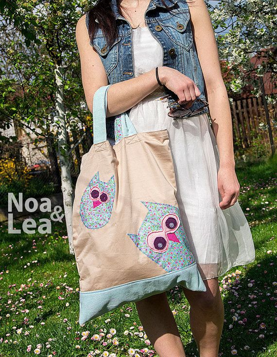 Big Tote Bag with Owls Pastel Bag Natural Look Spring by NoaLea