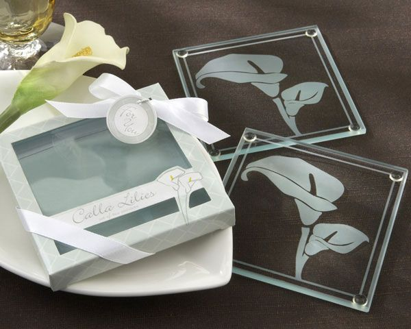 Calla Lilies Frosted Glass Coasters In Floral Inspired Gift Box