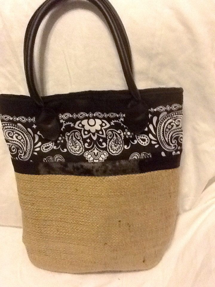 Burlap+Purse/Tote+with+Leather+Straps+and+by+MemesCustomStitches,+$41.00