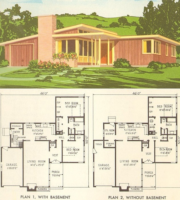 NPS plan 1954 | Flickr - Photo Sharing! 2 Bed, 1 Bath, Garage