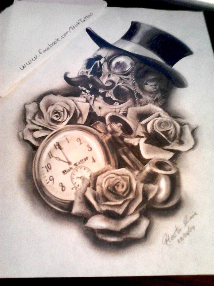 Boceto Para Tatuaje De Craneo Con Mon 243 Culo Y Reloj Artistas Tatuadores Dibujos Y Tatuajes
