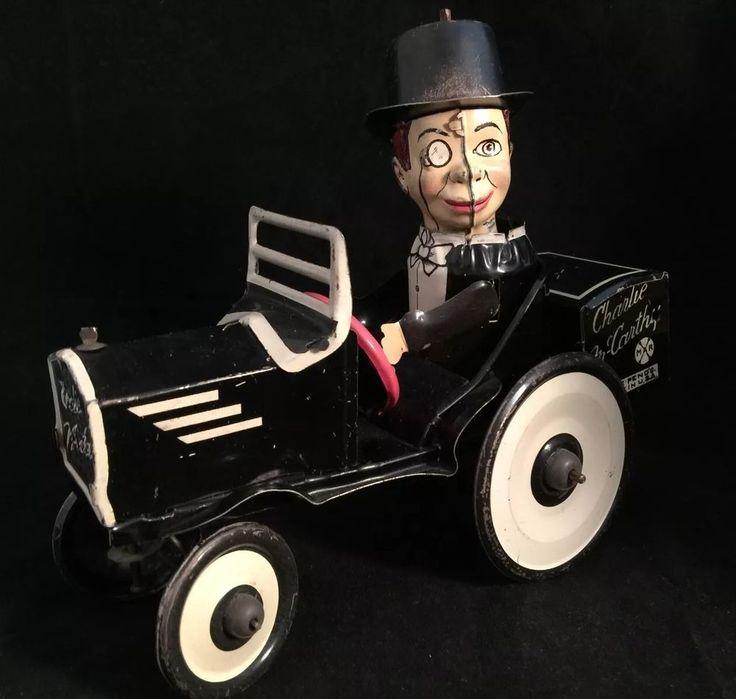 Vintage 1930 Charlie McCarthy Benzine Buggy Marx Tin Toy Wind Up. #Marx