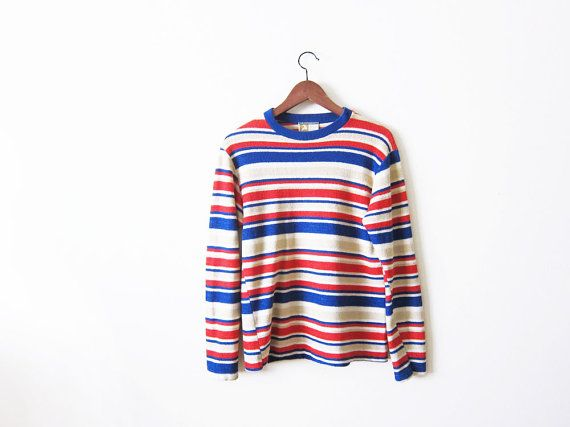 70s shirt / striped long sleeve / 1970s terrycloth by MILKTEETHS