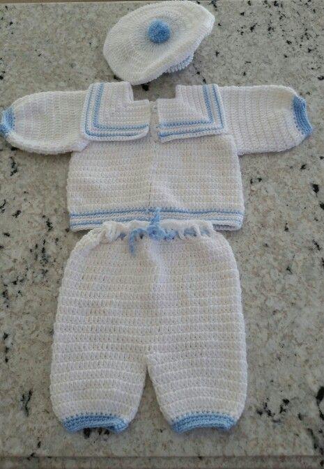 Baby boy sailor crochet set