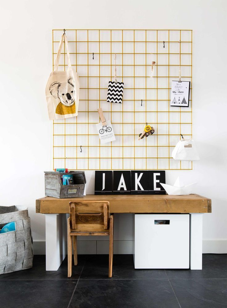 love the organization over the desk in this kid space!