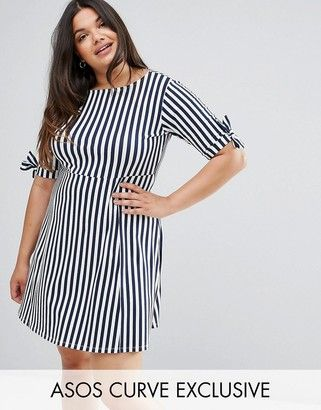 Asos Skater Dress with Bow Sleeve In Stripe