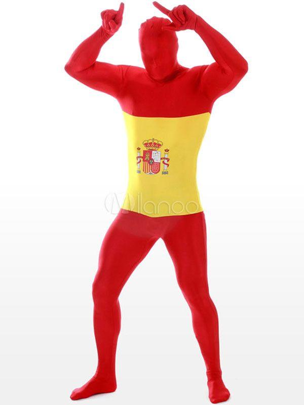 Zentai de elastano de marca LYCRA con estampado de bandera nacional de España - Milanoo.com