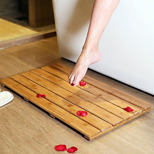 GoBam Bamboo Bath Floor and Shower Mat Eco Friendly Skid Resistant Bathroom Step Mat (Size:25.98 x 15.75 x 1.26 inches)