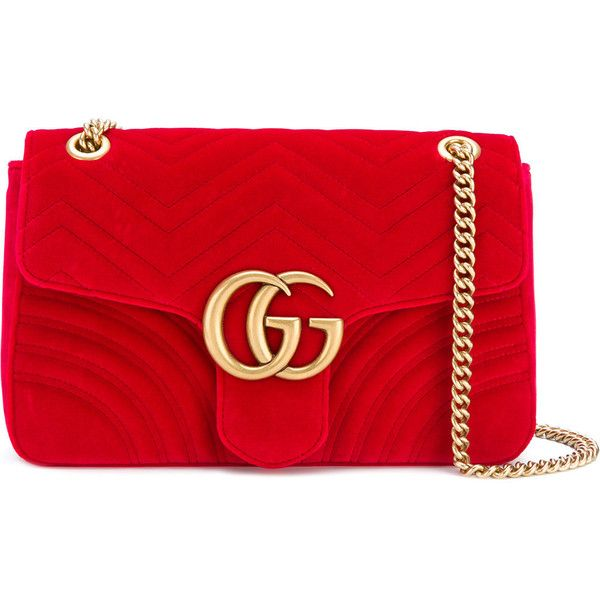 Gucci GG Marmont velvet shoulder bag ($2,135) ❤ liked on Polyvore featuring bags, handbags, shoulder bags, red, red hand bags, red purse, quilted chain strap shoulder bag, shoulder hand bags and handbag purse