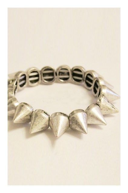 Burnished silver spike stretch wrist wear, featuring slip-on styling and a stretch fit.$21