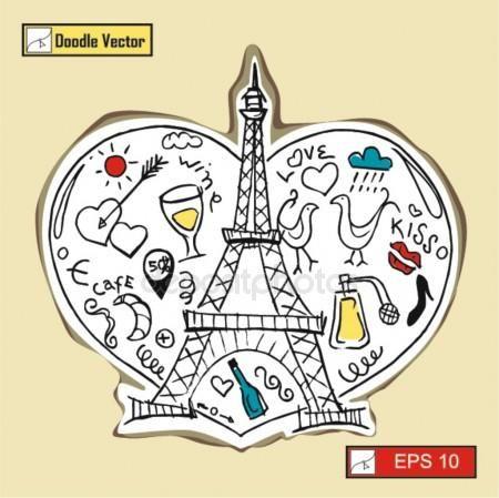 Amo a París con la Torre Eiffel Vectores De Stock Sin Royalties Gratis