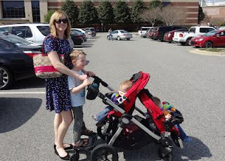"Kimber's Navy Family Blog post: ""I love my stroller""; reviews on the Baby Jogger City Select stroller with room for three--I knew it could be done!"
