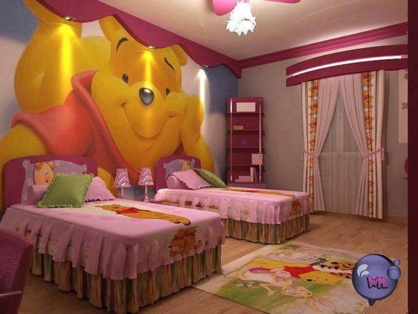 125 großartige Ideen zur Kinderzimmergestaltung - winnie pooh motiv im kinderzimmer betten teppich