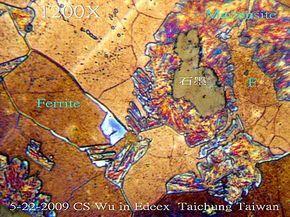 5-7   今天又照了好幾張.  FCD 感應淬火表面故意嚴重過熱 以生粗大高碳Martensite+殘留Austenite. 20多年了, 今天才突然想到: 我應該是台灣第一個拍彩色金相的-----
