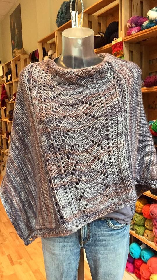 "Free Knitting Pattern for Denizen Poncho - Lynne Vogel's Denizen is an asymmetrical poncho with a lace panel flanked by sideways knitted stockinette panels and finished with crochet. She provides instructions for ""crocheting"" with knitting needles. Pictured project by Schafsinn."