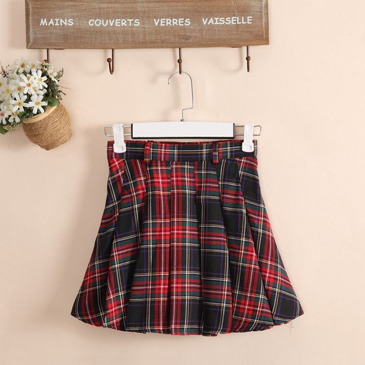6 colors Plaid uniform skirts Korea Fashion Preppy Style Pleated Skirt Women Red Plaid Skirt School Uniform Girls Short Skirts