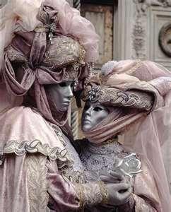Elaborate matching Carnevale costumes