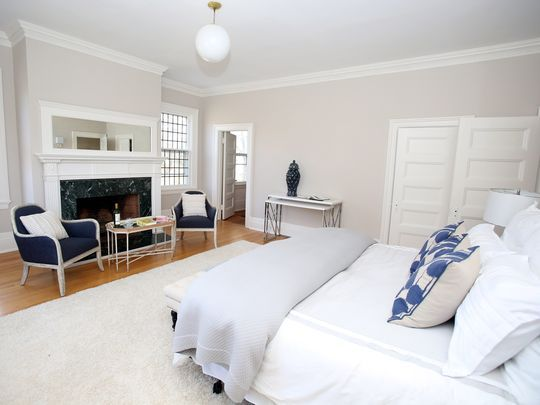 a view of the master bedroom this queen ann victorian home in larchmont hudson valleyluxury homesmaster