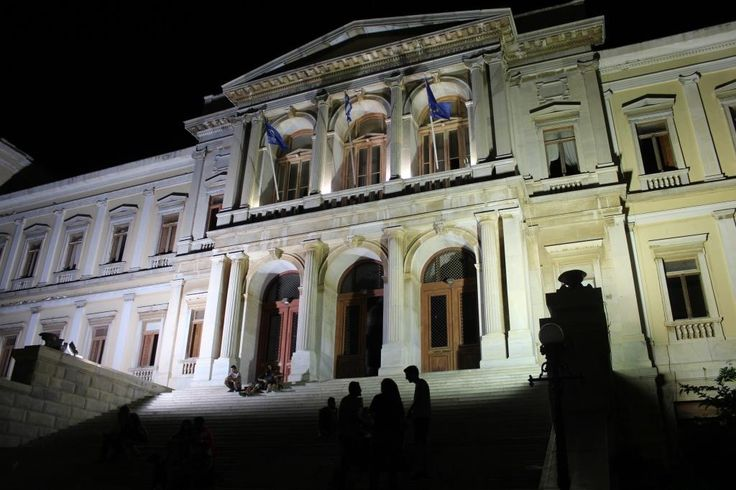 The beautiful town hall on the island of Syros, Hermoupolis.