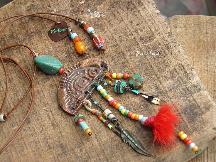 Collier nomade ,collier hippie,collier bohémien,collier poisson en cuivre,poisson ethnique,turquoise,rouge,orange,cuivré : Collier par rare-et-sens
