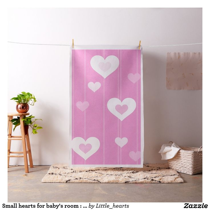 Small hearts for baby's room : it's a girl ! - fabric