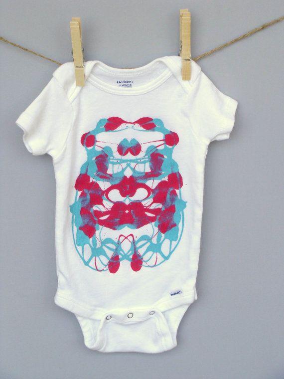 Decorated Baby Onesie  Unique Baby Gift  Ink by SSorensenDesigns, $19.99