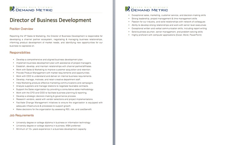Director of Business Development Job Description - A template to - director of development job description