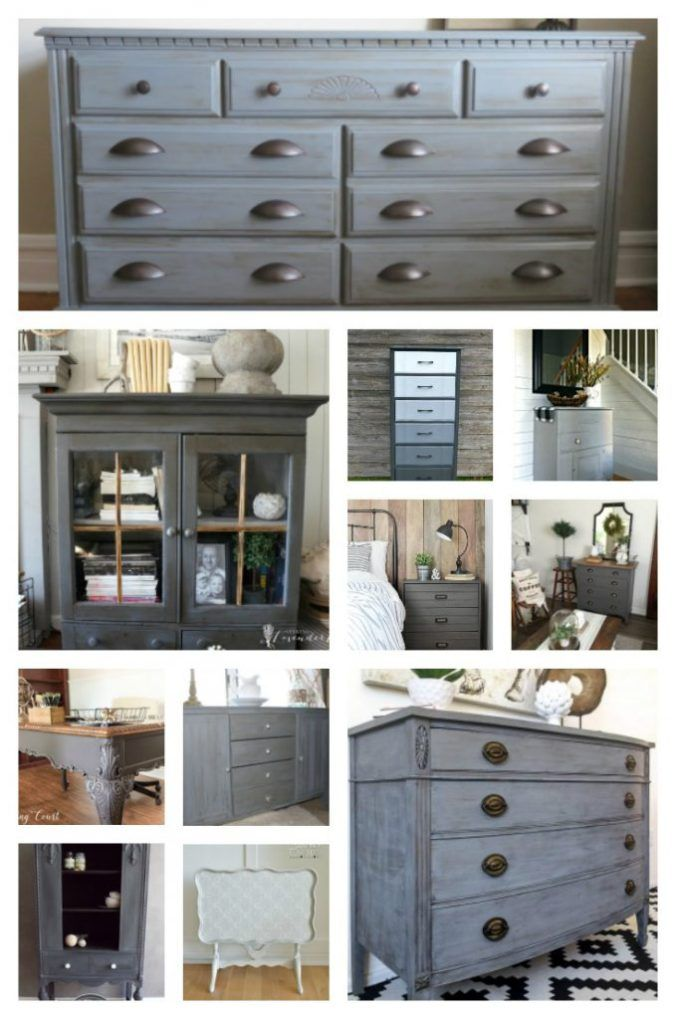 25 Beautiful Gray Painted Furniture Ideas to inspire you! Centsible Chateau #graypaintedfurniture #farmhouse furniture #graychalkpaint #chalkpaint