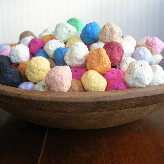 Seed bombs! Remnants of a plantable paper making process!