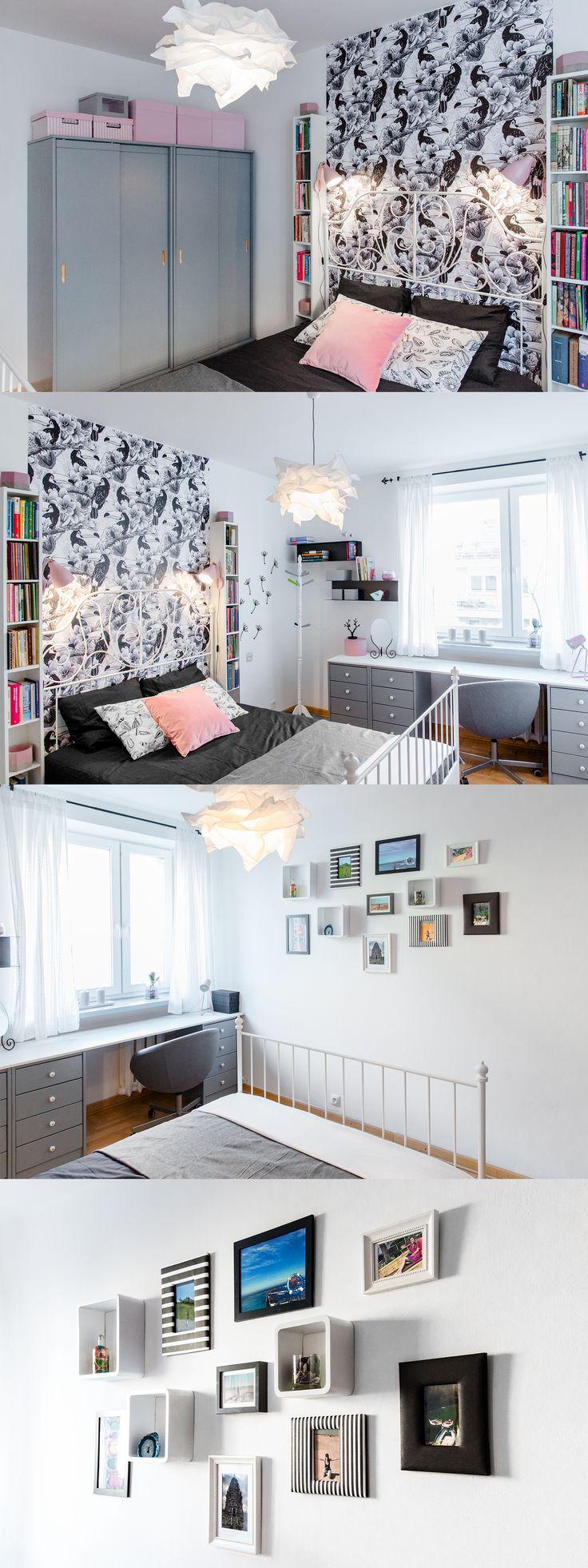 Sypialnia odważnej i romantycznej dziewczyny, stworzona częściowo z zastanych mebli, które pamiętają wczesnej dzieciństwo bohaterki i jej siostry, która zdążyła się już wyprowadzić.