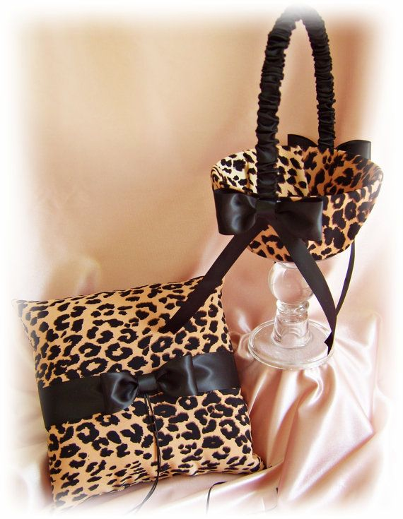Leopard print wedding basket and pillow wedding ring ♥ by All4Brides, $70.00