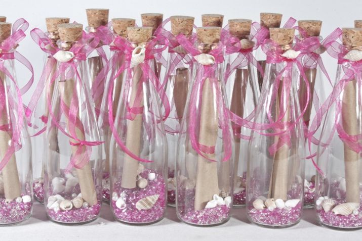 Messages in the bottles are colorful one from another. Make your own wedding invitation.