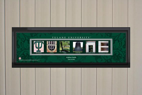 The Tulane University Personalized College Letter Art Print (up to two lines) features Photos representing letters that together spell out the schools name, nickname or slogan. The photos are from the school and includes a caption showing where the photo was taken. Print is