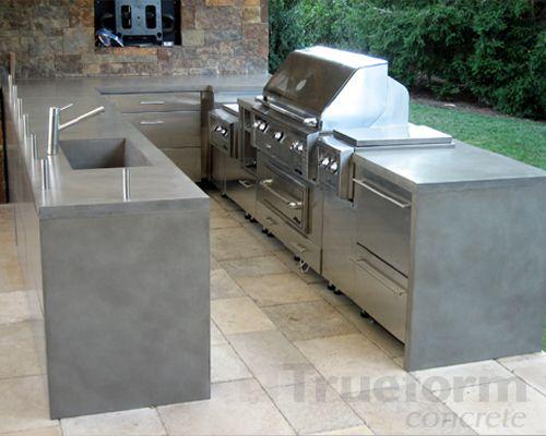 concrete furniture | Countertop Concrete Patio Table: Durable Unique Concrete Patio Tables ...
