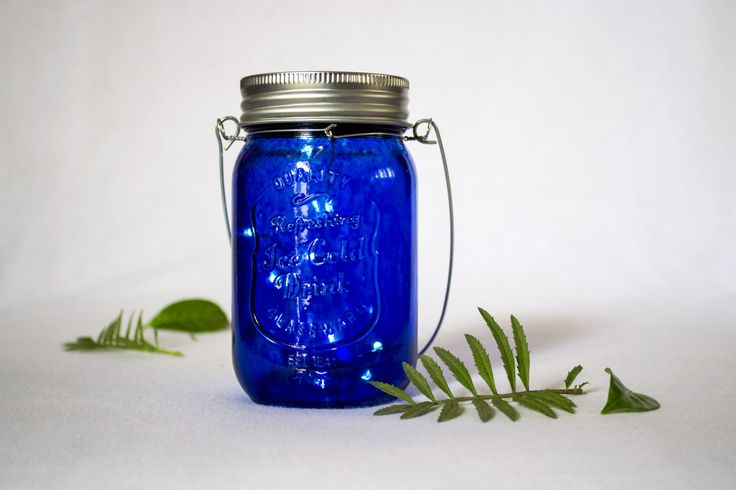 Solar Lights, Blue Mason Jar Lights, Mason Jar Lamp, Fairy Lights, Mason Jar Lighting, Rustic, Night Light, Lights, Wedding Lights by Orunie on Etsy