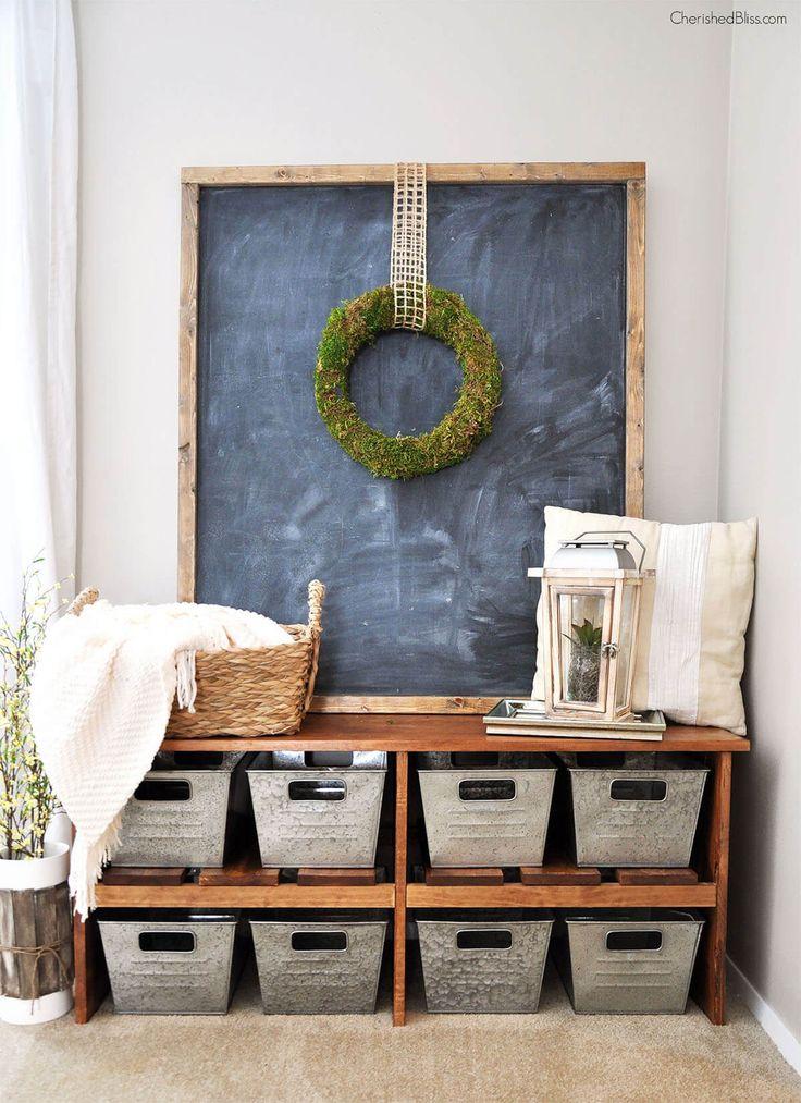 Rustic Farmhouse Framed Chalkboard And Metal Baskets