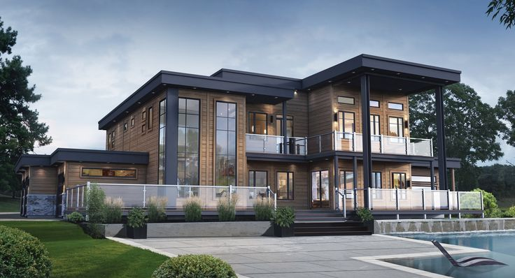 From our Contemporary Series, this is the Panorama. This 3800 square foot home is nothing short of spectacular. Built with the warmth of wood, an up to 15 year finish warranty and technology that results in energy savings, this home is truly a dream come true for the lovers of Contemporary style. See the floor plan here: https://www.timberblock.com/plan/panorama/