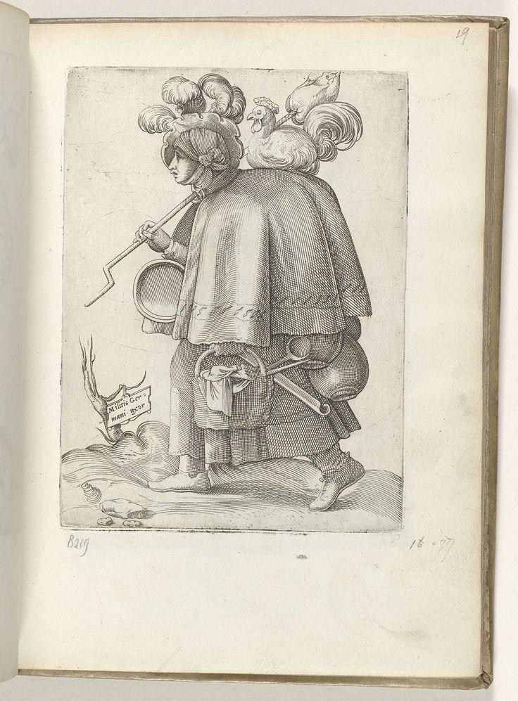 Enea Vico | Militis Germani uxor, Enea Vico, in or before 1558 | Marketentster, lopend naar links, potten en pannen dragend, een kip op haar schouder. Prent uit album 'Diversarum gentium nostrae aetatis habitus'.