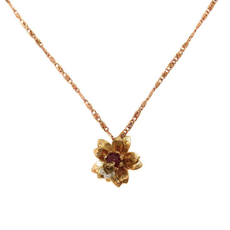 Carmen - delicate brass flower pendant with crimson bead detail on snail chain