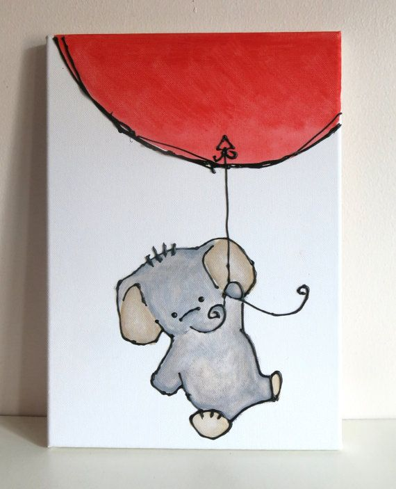 Original 3D Acrylic Canvas Painting Elephant with Balloon 10 inch x 14 inch on Etsy, $22.61
