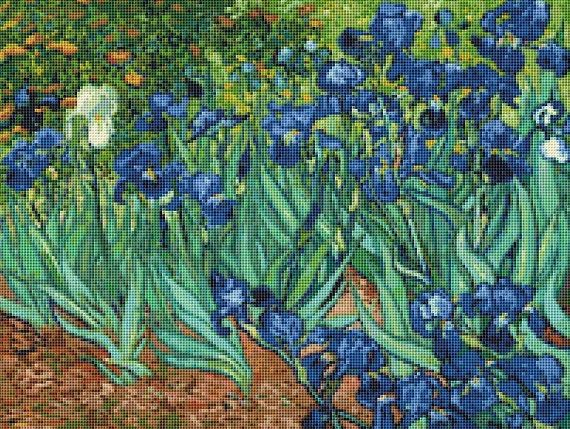 Van Gogh's Irises Floral Counted Cross Stitch Pattern / Chart, Vincent Van Gogh, Dutch Fine Art, Instant Download (ABA063)