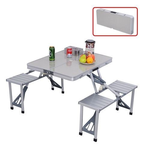 New Portable Aluminium Folding Camping Outdoor Bbq Dining Picnic Table Chairs Set Camping Picnic Table Folding Picnic Table Picnic Table