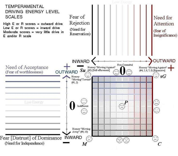 """Full matrix showing how five temperaments (and eight """"moderate"""" variations) are more energized in one and or the other dimension the closer to the sides (and corners) you go. This corresponds to the FIRO-B scoring system used by APS."""