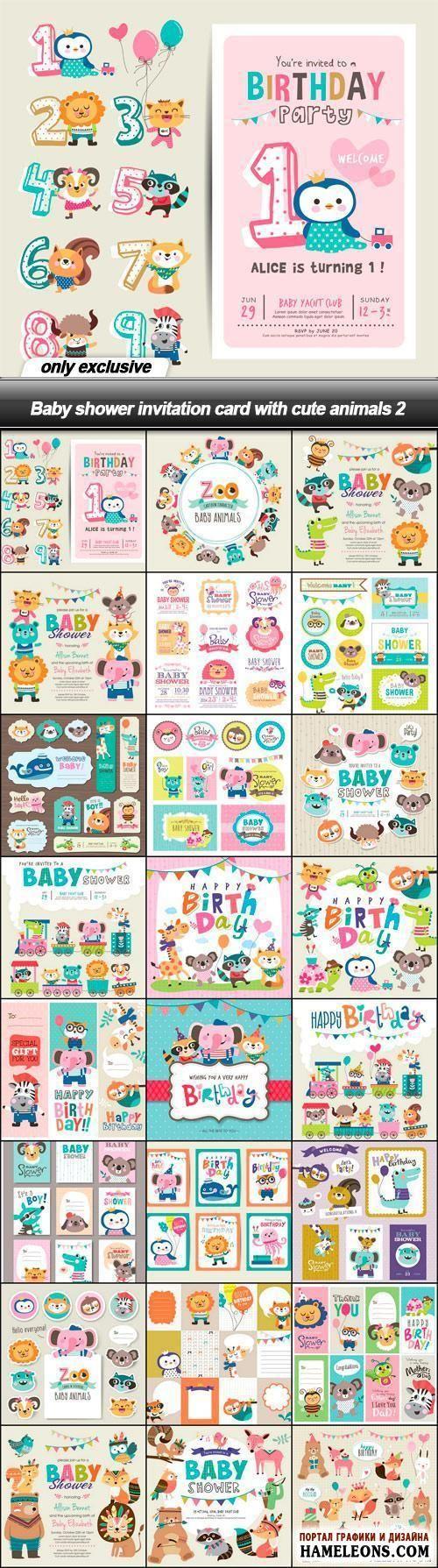 Бэби Шауэр - в векторе пригласительные открытки на детский праздник с забавными животными   Baby shower invitation card with cute animals
