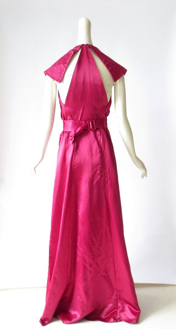 Vintage 1940s Dress / Rosa Sangria Satin Gown by SmallEarthVintage