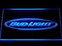 "35 BUCKS! - 12"" x 9"" Bud Light Neon Blue Sign - Acrylic Lighting that Looks Cool On or Off--joe would love"