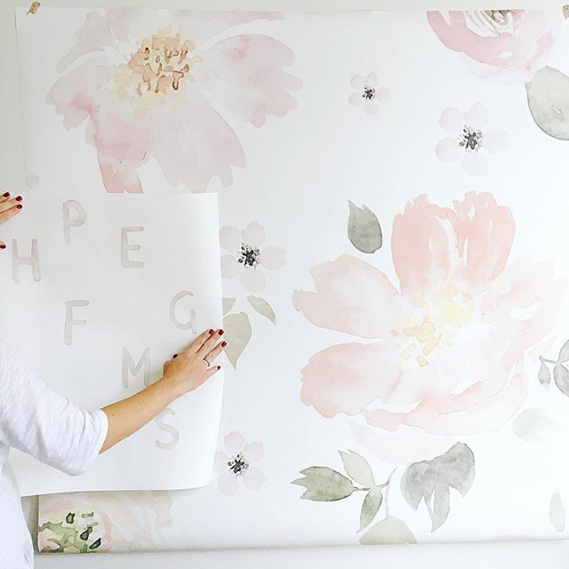 Obsessing over this custom wallpaper I designed with @anewalldecor for the playroom & baby girl's nursery! #MHhomebuild
