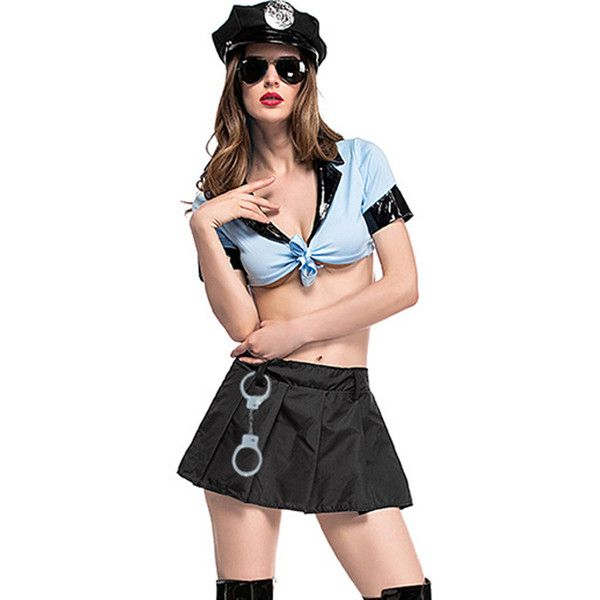 Light Blue Two Piece Sexy Policewoman Uniform Cop Costume ($27) ❤ liked on Polyvore featuring costumes, police officer costume, sexy police woman costume, sexy two piece, sexy police officer halloween costume and cop costume