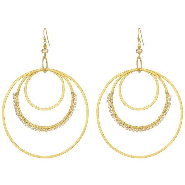 Chan Luu Triple Hoop Earrings with Beaded Semi Precious Stones... ($73) ❤ liked on Polyvore featuring jewelry, earrings, sunflower jewelry, semi precious stone jewellery, chan luu jewelry, beaded jewelry and hoop earrings